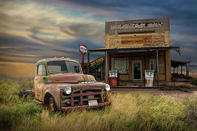 Photograph - Abandoned Dodge Truck And Gas Station by Randall Nyhof