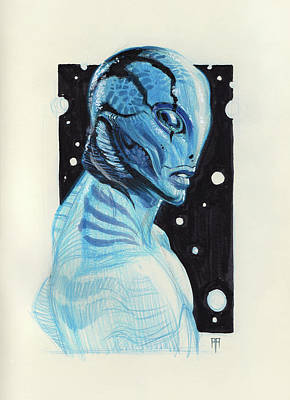 Science Fiction Drawings - Abe Sapien by Alex Ruiz