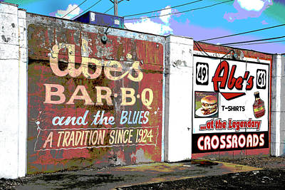 City Sunset Mixed Media - Abe's Bar B Q by Charles Shoup