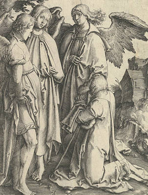 Relief - Abraham And Three Angels by Lucas van Leyden