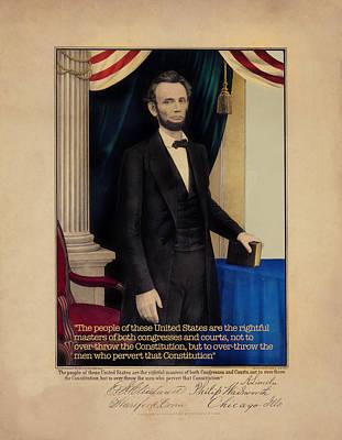 Digital Art - Abraham Lincoln - Remastered by Carlos Diaz