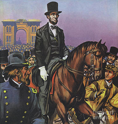 Painting - Abraham Lincoln Rides Into Gettysburg by Angus McBride