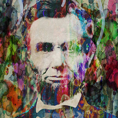 Painting - Abraham Lincoln Watercolor By Robert R Splashy Art by Robert R Splashy Art Abstract Paintings