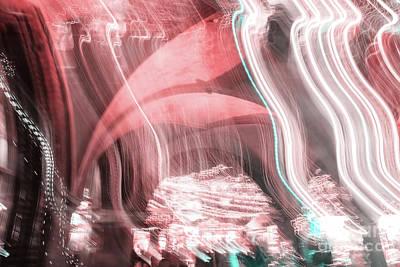 Photograph - Abstract Blurred Christmas Illumination by Marina Usmanskaya
