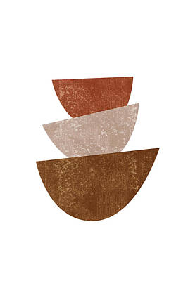 Abstract Royalty-Free and Rights-Managed Images - Abstract Bowls 2 - Terracotta Abstract - Modern, Minimal, Contemporary Print - Brown, Beige by Studio Grafiikka