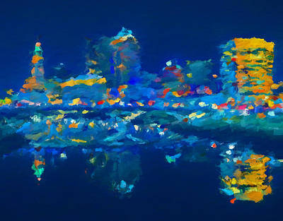Painting - Abstract Columbus Skyline by Dan Sproul