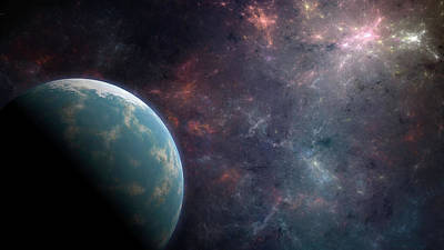 Photograph - Abstract Cosmic Background With Planets by Frank Pali