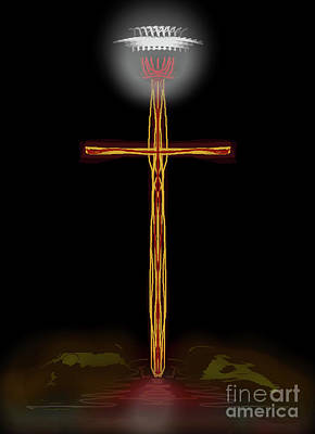 Digital Art - Abstract Cross With Halo by James Fannin