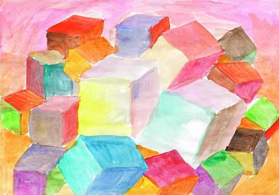 Painting - Abstract Cubic World by Irina Dobrotsvet