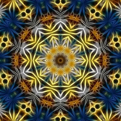 Digital Art - Abstract Daisies Kaleidoscope by Cindy Boyd
