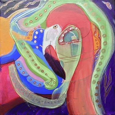 Painting - Abstract Flamingo by Cherylene Henderson