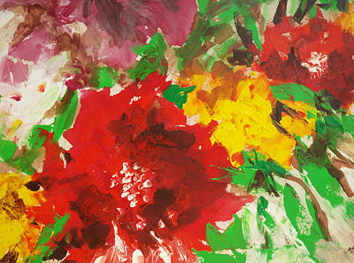 Painting - Abstract Flowers by Hoda Said Ibrahim