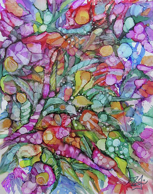 Painting - Abstract Flowers by Jean Batzell Fitzgerald
