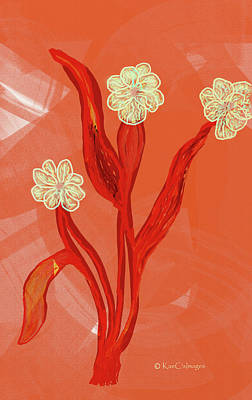 Digital Art - Abstract Flowers On Coral Background by Kae Cheatham