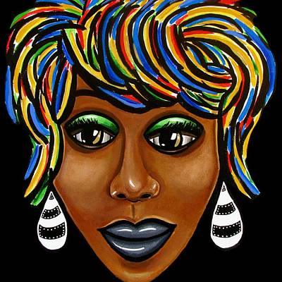 Painting - Abstract Art Black Woman Retro Pop Art Painting- Ai P. Nilson by Ai P Nilson