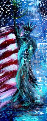Landmarks Painting Royalty Free Images - Abstract Lady Liberty, 2 Royalty-Free Image by J Vincent Scarpace