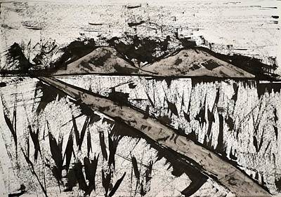 Rowing - Abstract Landscape - Ink Painting #P23 by Noranne AG
