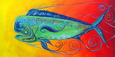 Painting - Abstract Mahi Mahi, 8 by J Vincent Scarpace