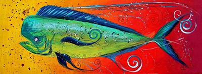 Animals Paintings - Abstract Mahi Mahi by J Vincent Scarpace