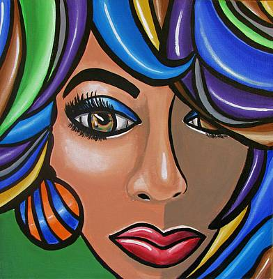 Painting - Abstract Woman Artwork Abstract Female Painting Colorful Hair Salon Art - Ai P. Nilson by Ai P Nilson