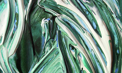 Painting - Abstract Organic Lines The Flow Of Green And Blue by Irina Sztukowski