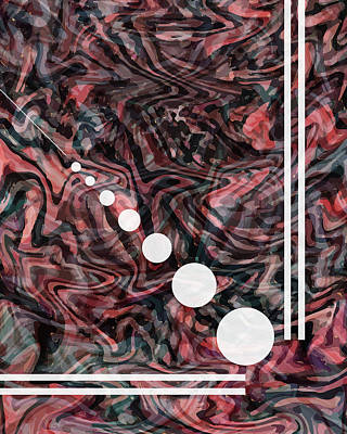 Mixed Media - Abstract Painting - Flow 2 - Fluid Painting - Red, Black Abstract - Geometric Abstract - Marbling 2 by Studio Grafiikka