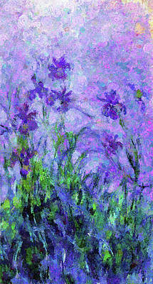 Mixed Media - Abstract Realism Field Of Iris In Spring by Georgiana Romanovna
