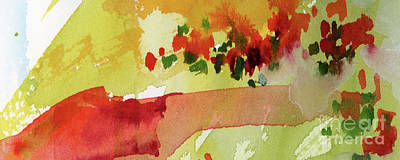 Painting - Abstract Red Poppies Panorama by Ginette Callaway
