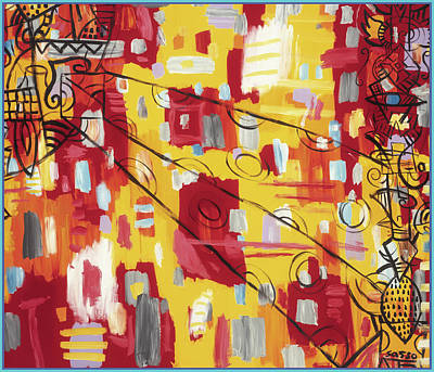 Wall Art - Painting - Abstract Red Yellow by James Sasso