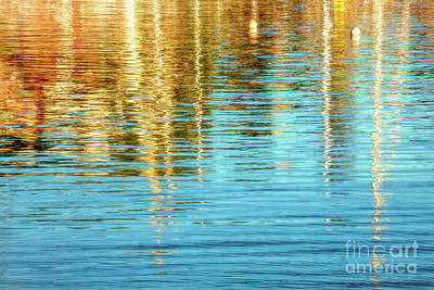 Photograph - Abstract Reflections In Camden Harbor Maine by Anita Pollak