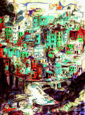 Mixed Media - Abstract Riomaggiore Cinque Terre Art by Ginette Callaway