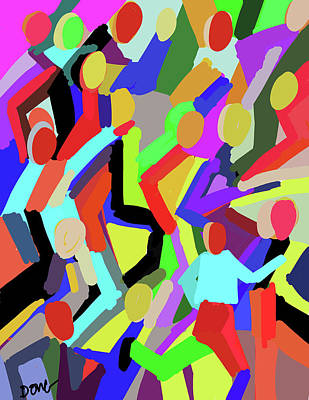 Painting - Abstract Running Crowd By Diana Ong by Diana Ong