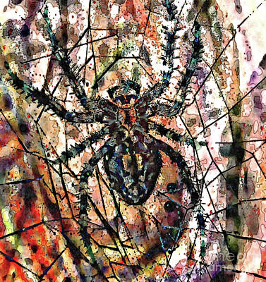 Mixed Media - Abstract Spider Web by Jolanta Anna Karolska