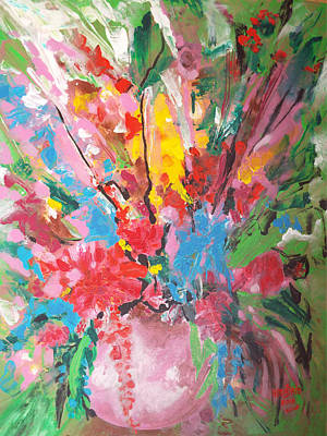 Painting - Abstract Vase Of Flowers by Hoda Said Ibrahim