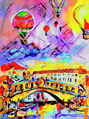 Mixed Media - Abstract Venice Rialto Bridge Balloons by Ginette Callaway