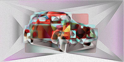 Mixed Media - Abstract Vw Beetle by David Ridley