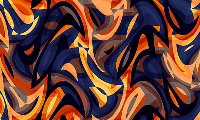 Curated Travel Chargers - Abstract Waves Painting 002031 by CarsToon Concept
