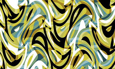 Comedian Drawings - Abstract Waves Painting 007050 by CarsToon Concept