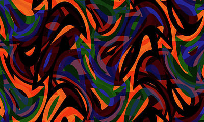 Digital Art - Abstract Waves Painting 007770 by P Shape