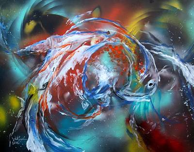 Painting - Abstract White Tri Fantail Goldfish by J Vincent Scarpace