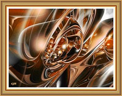 Abstract Royalty-Free and Rights-Managed Images - Abstracticalia - Bronze Fractal Fantasy L A S With Printed Frame by Gert J Rheeders