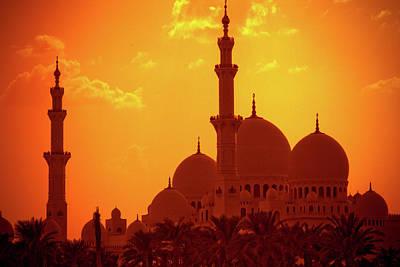 Islam Wall Art - Photograph - Abu Dhabi Mosque At Sunset by By Kim Schandorff