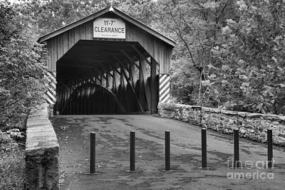 Photograph - Academia Covered Bridge Black And White by Adam Jewell
