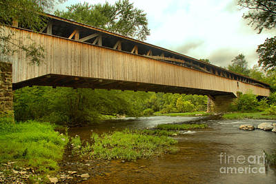 Photograph - Academia Covered Bridge Over Tuscarora Creek by Adam Jewell