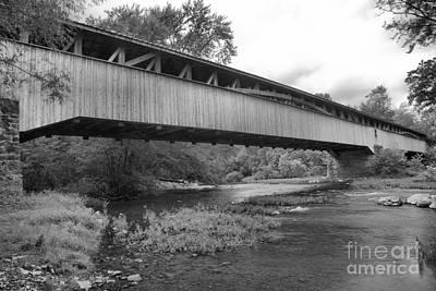 Photograph - Academia Covered Bridge Over Tuscarora Creek Black And White by Adam Jewell
