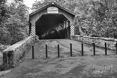 Photograph - Academia Pomeroy Covered Bridge Black And White by Adam Jewell