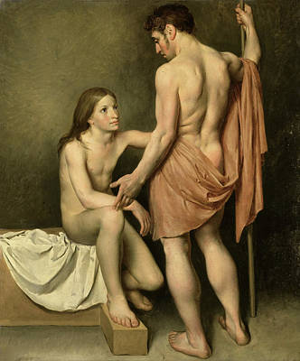 Painting - Academic Study Of A Standing Naked Man And A Sitting Young Man  by Woutherus Mol