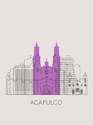 Digital Art - Acapulco Landmarks by Inspirowl Design