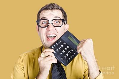 Accountancy Wall Art - Photograph - Accounting Man Winning With Calculator by Jorgo Photography - Wall Art Gallery