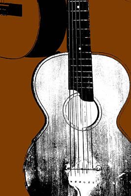 Digital Art - Acoustic Guitar On Brown by Artist Dot